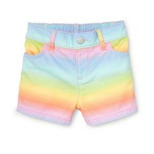 Childrens Place Rainbow Denim Shorts 12-18 M